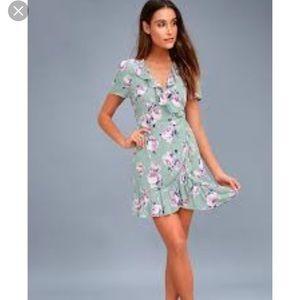 NWT Lulu's Sage Floral Wrap Dress